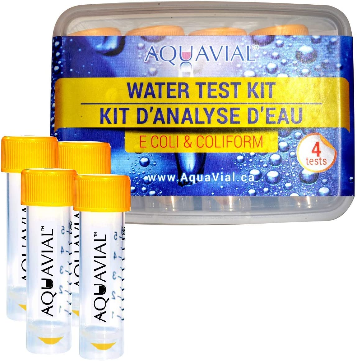 AquaVial | Water Test Kit | Detect E.Coli & Coliform | Use in Drinking Water, Wells, Pools, Hot Tubs or During Travels (4-Pack)