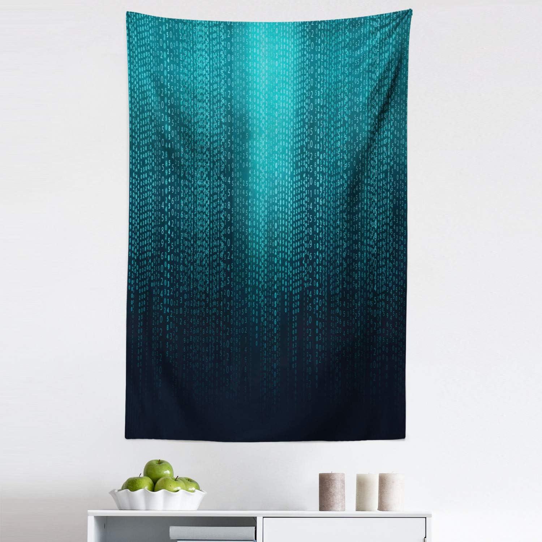 "Lunarable Digital Tapestry, Web Computer Programmer Futuristic Matrix Display with Algorithms Code Image, Fabric Wall Hanging Decor for Bedroom Living Room Dorm, 30"" X 45"", Petrol Blue"