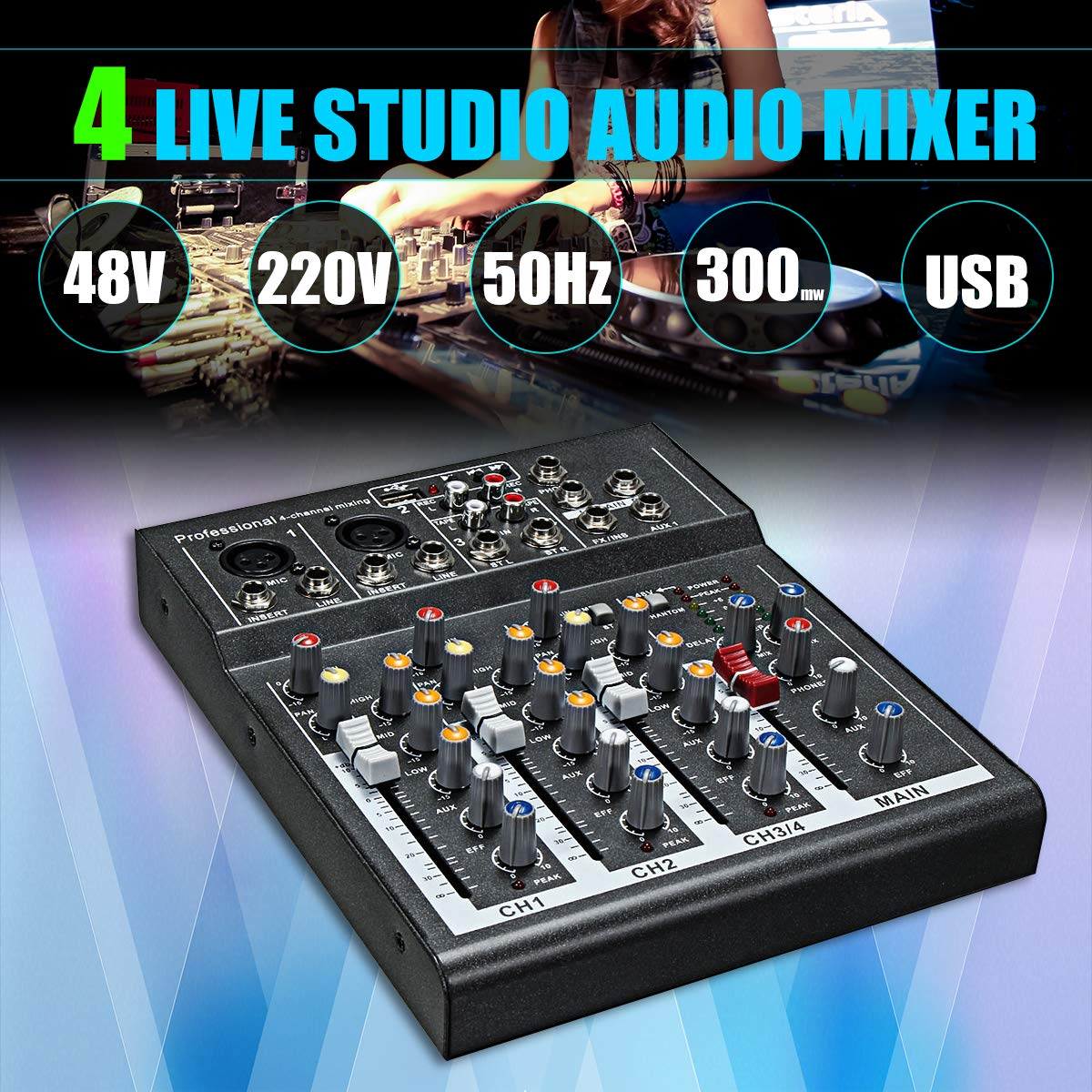 DSstyles Mini 4 Channel Karaoke Audio Mixer Amplifier Professional Microphone Mixing Sound Console with 48V Power Black US Plug