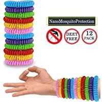 Mosquito Repellent Bracelets 12 Pack, Premium Quality, DEET-Free Natural Wristbands, Waterproof Bug, Protection Insects up to 200 Hours, Pest Control for Babies Kids Adults