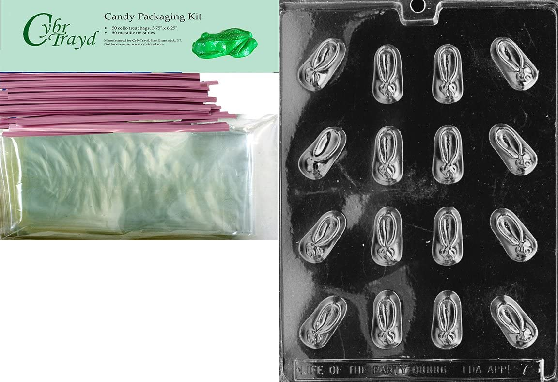 Includes 25 Cello Bags and 25 Red Twist Ties Cybrtrayd Mdk25R-XX501 Teenie Weenie Adult Chocolate Candy Mold with Packaging Bundle