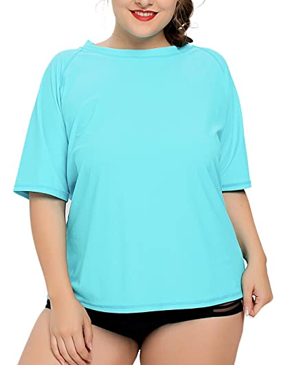 efd89a13718 V FOR CITY Ladies Plus Size Swim Shirt Active Rash Guard Swimsuit Short  Sleeve Rashguard Tops