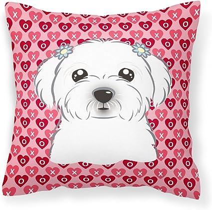 Amazon Com Caroline S Treasures Bb5278pw1414 Maltese Hearts Fabric Decorative Pillow 14hx14w Multicolor Garden Outdoor