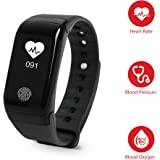 Fitness Tracker with Heart Rate Monitor, Blood Pressure/Blood Oxygene Monitor, Tritace Waterproof Activity Tracker/Pedometer records Distance, Steps, Calories Burned & Sleep Patterns (Black)