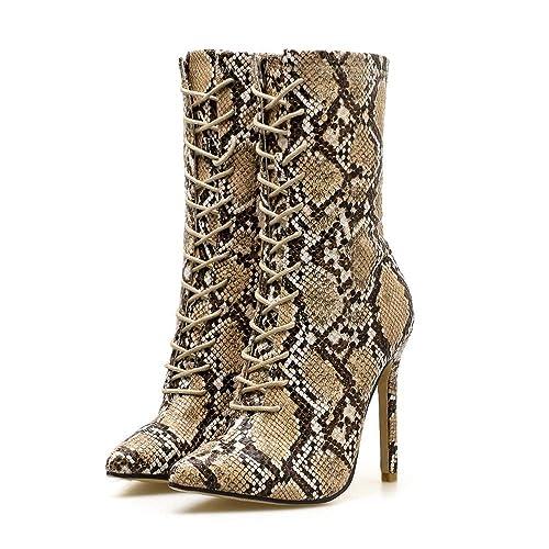 b27740f8d Zapatos Mujer Deportivos Running Bombas De Las Mujeres Modelo De Piel De  Serpiente con Punta Estrecha Zip Fino Zapatos De Tacón Alto Botas   Amazon.es  ...