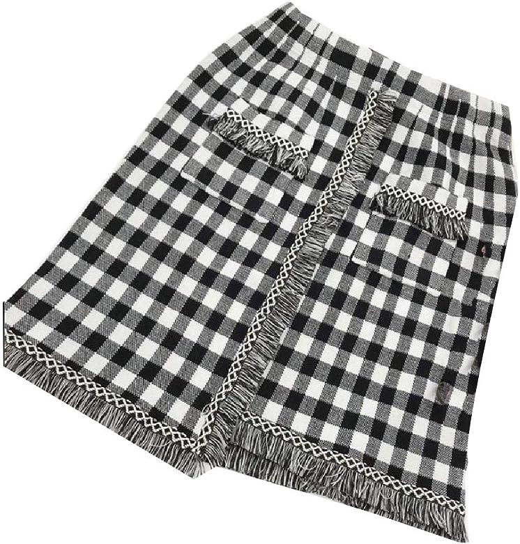Coolred - Falda de lápiz, diseño de Pata de Gallo, con Flecos ...
