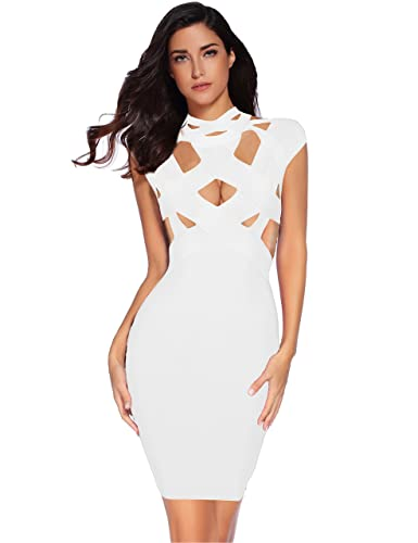 Meilun Womens Hollow Out O-Neck Sleeveless Bandage Dress