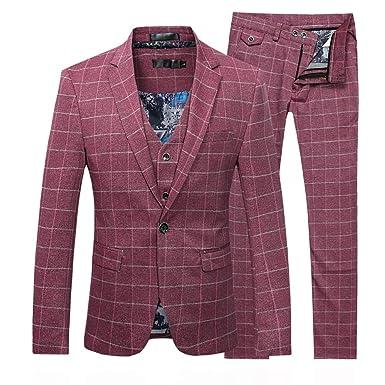 Traje de 3 piezas con chaqueta, chaleco y pantalones, para hombre, de cuadros, ajuste moderno Rojo rosso M: Amazon.es: Ropa y accesorios