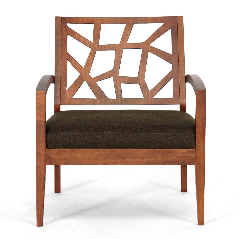 amazoncom baxton studio jennifer modern lounge chair with dark  - amazoncom baxton studio jennifer modern lounge chair with dark brownfabric seat kitchen  dining