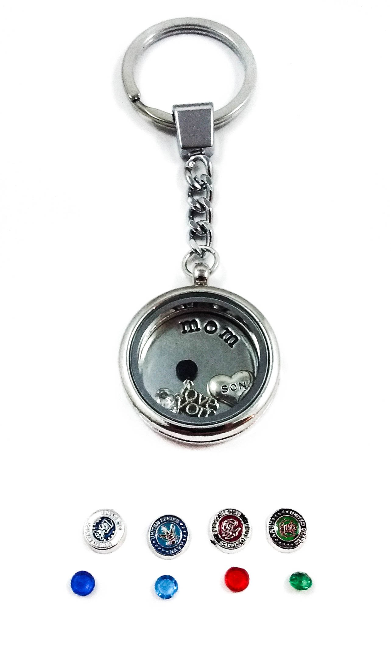 Mom - Son in the Military - Navy Army Marines Air Force Mother Living Memory Locket + Charms (Navy)
