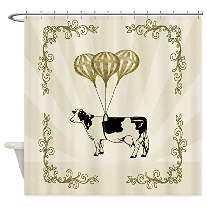 Amazon CafePress Vintage Balloon Cow Shower Curtain Decorative