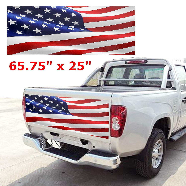 Amazon com elegantstunning wave american flag truck tailgate wrap vinyl graphic decal sticker 65 75 25 automotive