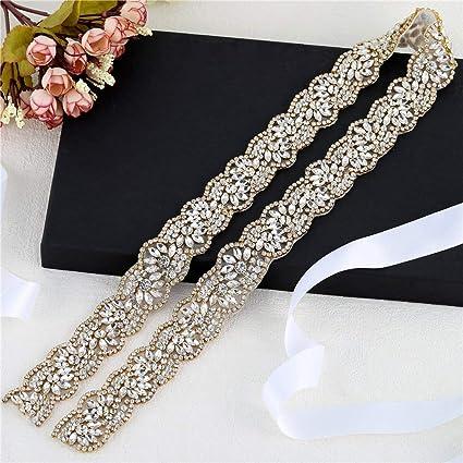 Gold Wedding Dress Applique Bridal Rhinestone Belt Crystal Sash Applique  Bridemaid Gown Women Prom Formal Dress ef5937a983b1