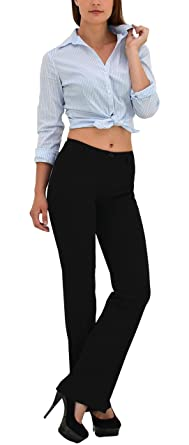 großer Rabatt wo zu kaufen reduzierter Preis ESRA Damen Hose Damen Bootcut Stoff Hose Business Hose H07