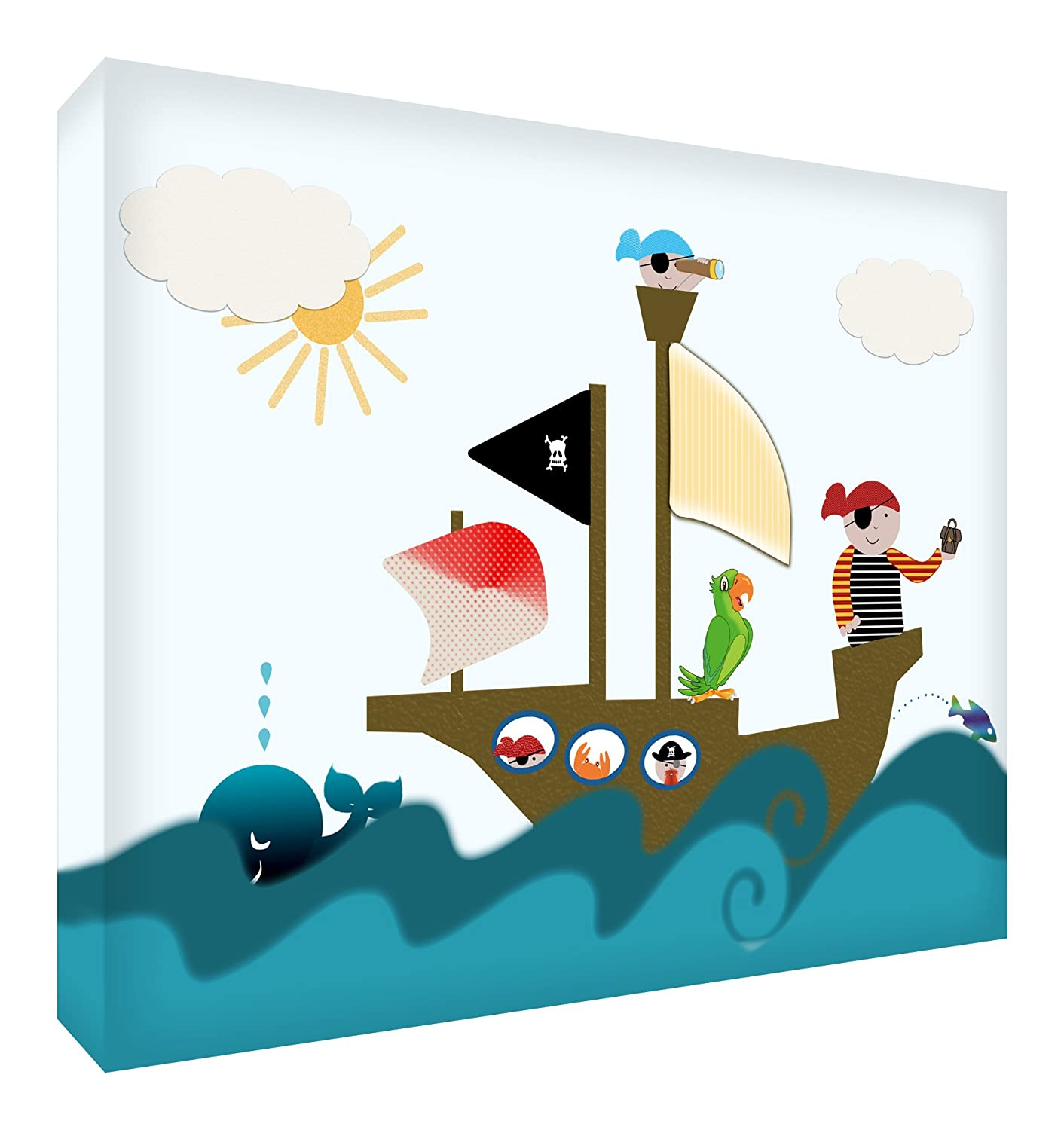 Feel Good Art A4 Pirates Gallery Wrapped Nursery Canvas with Solid Front Panel in Cute Illustrative Design (30 x 20 cm, Multi-Colour) PIRATES128-15