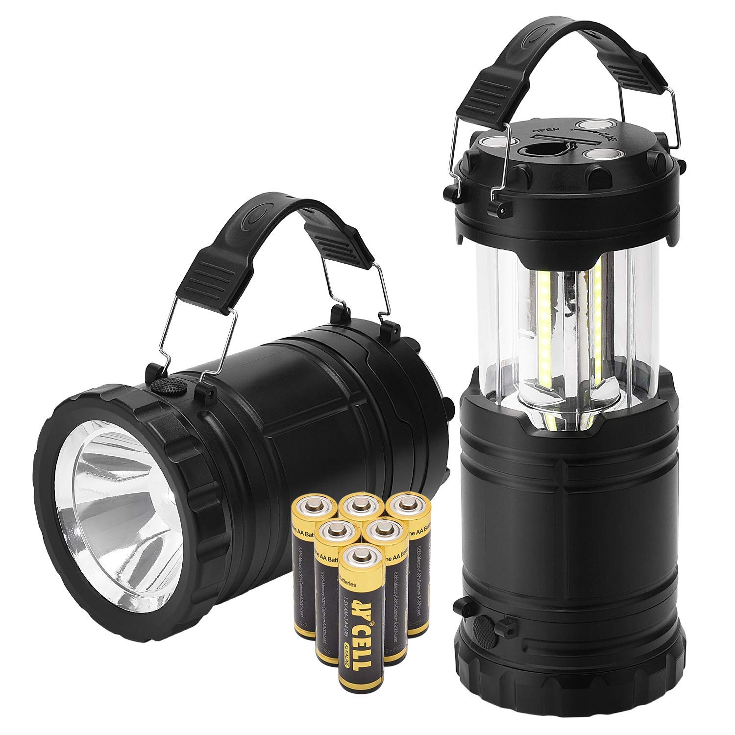 PACEARTH Camping Lanterns Battery Powered Led Lantern Flashlights with Batteries Handheld Collapsible Rechargeable Spotlight Magnetic Base 2 in 1 Power Outage Lamps for Emergency