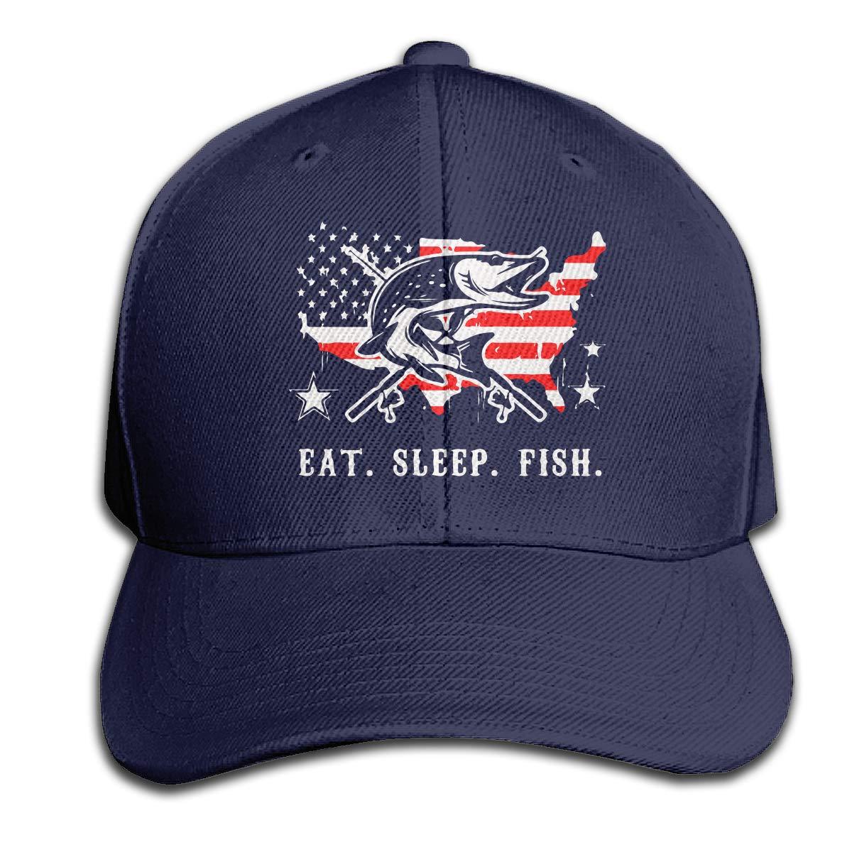 Eat Sleep Fish Fisher American Flag Fishing Unisex Baseball Cap Adjustable Plain Hat for Women Men
