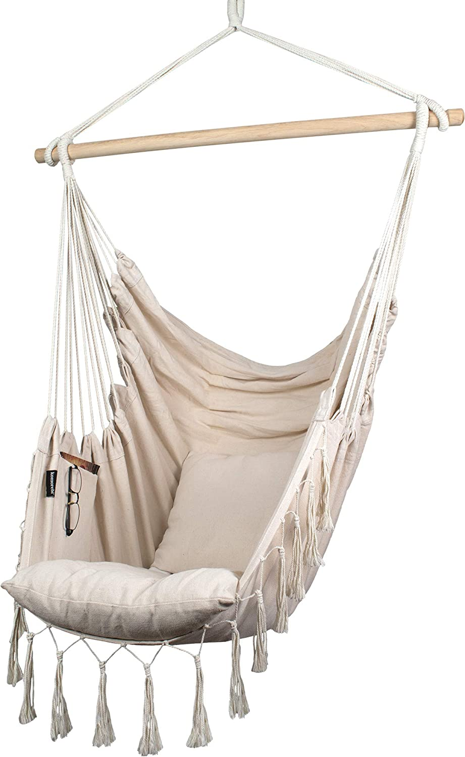 Amazon Com Komorebi Hammock Chair Hanging Rope Swing For Indoor Outdoor Soft Durable Cotton Canvas 2 Cushions Included Large Macrame Hanging Chair With Pocket For Bedroom Patio