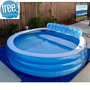 blow up above ground pool swimming pool with seats and cup holders family lounge clear jumbo