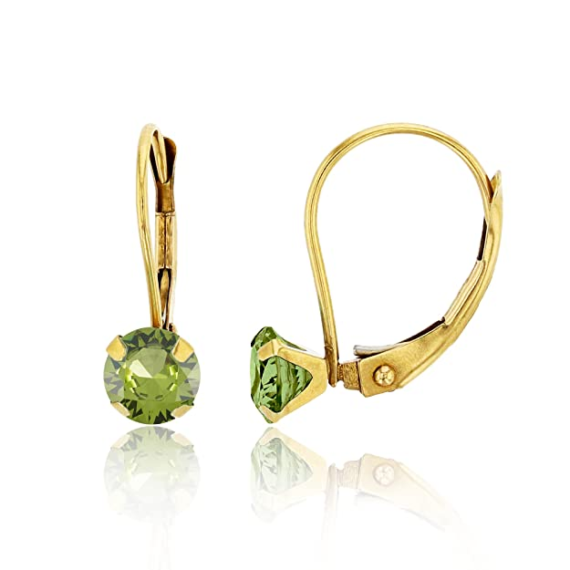 14K Yellow Gold Round Peridot Martini Leverback Earring
