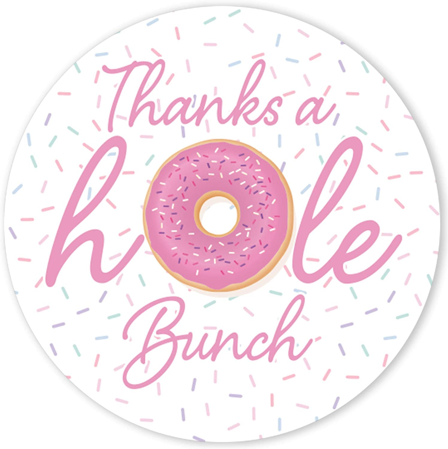 """30 Donut Envelope Seals Labels Stickers 1.5/"""" Round pink party favors"""