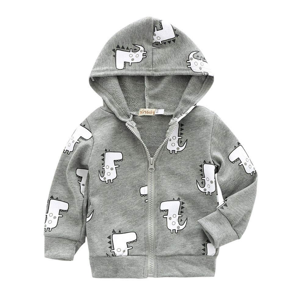 Londony▼ Clearance Sales, Kids Baby Boy Casual Cotton Outerwear Cute Dinosaur Printed Zipper Hooded Jackets Coat Londony007