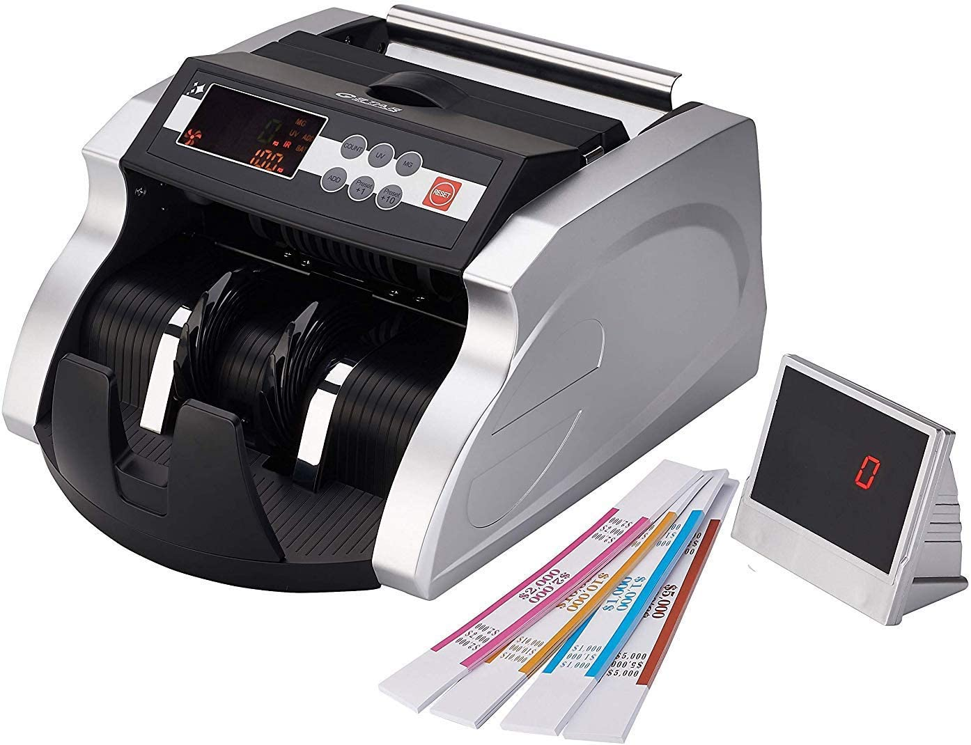 GStar Money Counter with UV/MG/IR/DD Counterfeit Bill Detection Plus  External Display and 30 Year Warranty