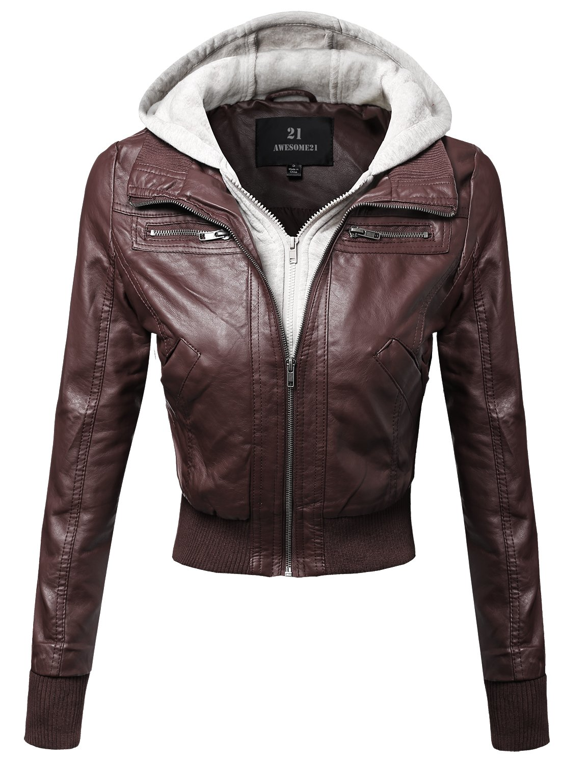 Faux Leather Bomber Military Style Hooded Jacket Coffee Size S
