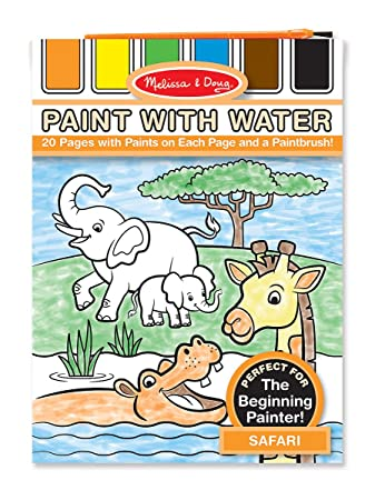 melissa doug paint with water activity book safari 20 pages
