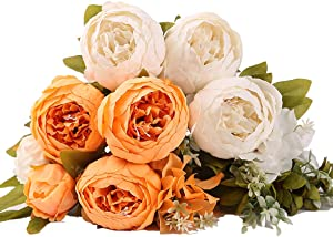 Fake Flowers Peonies Vintage Artificial Peony Silk Flowers Bouquets,for Home Table Centerpieces Wedding Party Decoration (Orange White)