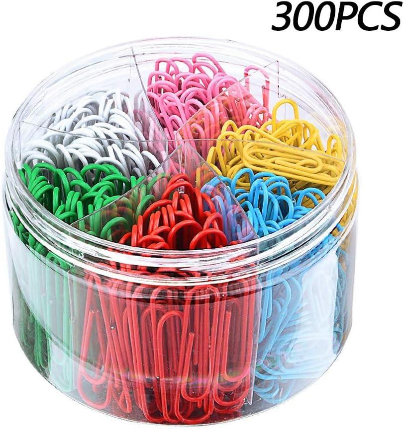 Gobesty lips de papel de colores, 300 pinzas de papel recubiertas de plástico con caja para papelería de oficina, 50 mm