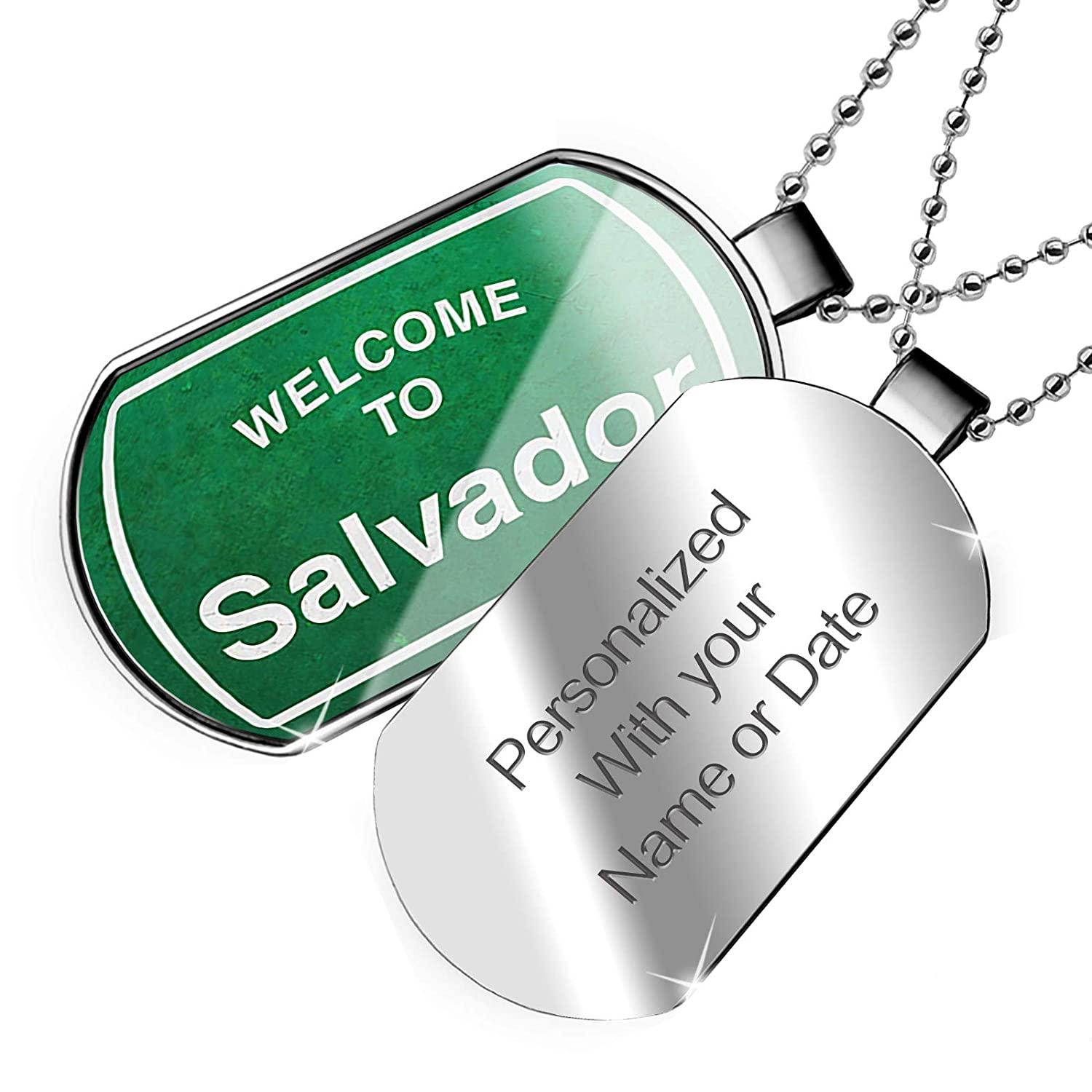 NEONBLOND Personalized Name Engraved Green Road Sign Welcome to Salvador Dogtag Necklace