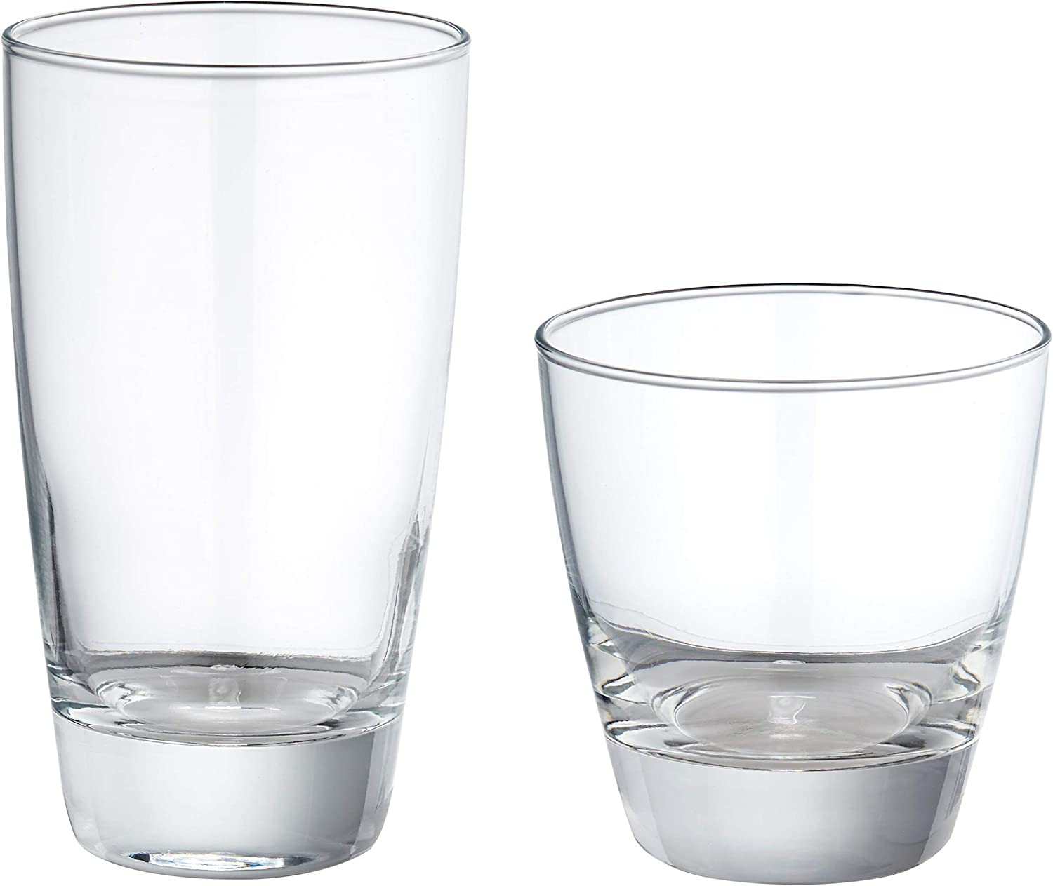 AmazonBasics Eastlake 16-Piece Old Fashioned and Coolers Glass Drinkware Set