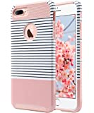 iPhone 7 Plus Case, ULAK Slim Dual Layer Protection Scratch Resistant Hard Back Cover Shock Absorbent TPU Bumper Case for Apple iPhone 7 Plus 5.5 inch - Minimal Rose Gold Stripes