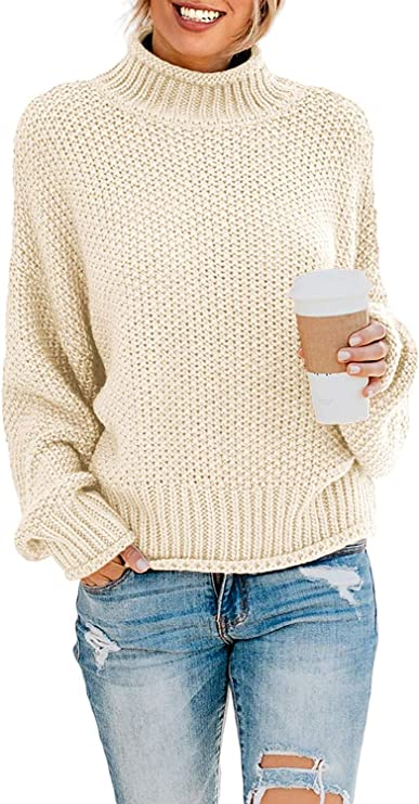 ZESICA Women's Turtleneck Batwing Sleeve Loose Oversized Chunky Knitted Pullover Sweater Jumper Tops Apricot