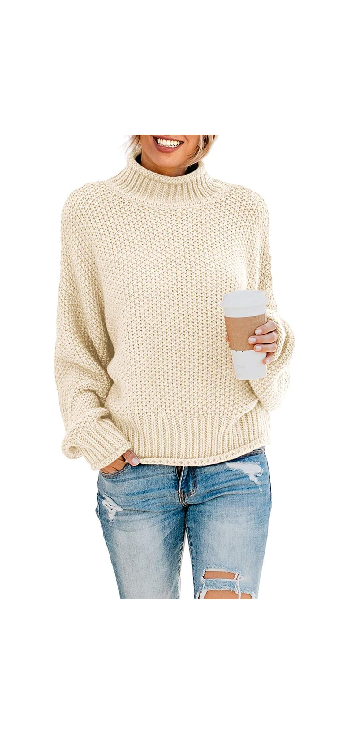 Women's Turtleneck Sweaters Long Batwing Sleeve Oversized