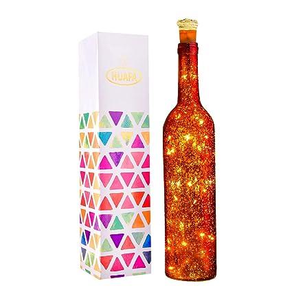 HUAFA luz de botella, (botella roja) Desarrollado por 3 piezas de batería LR44 (incluido).: Amazon.es: Iluminación