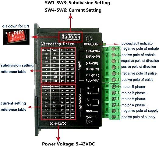 TopDirect TB6600 Controlador de Motor Paso a Paso 4A 9-42V 2/4 ...