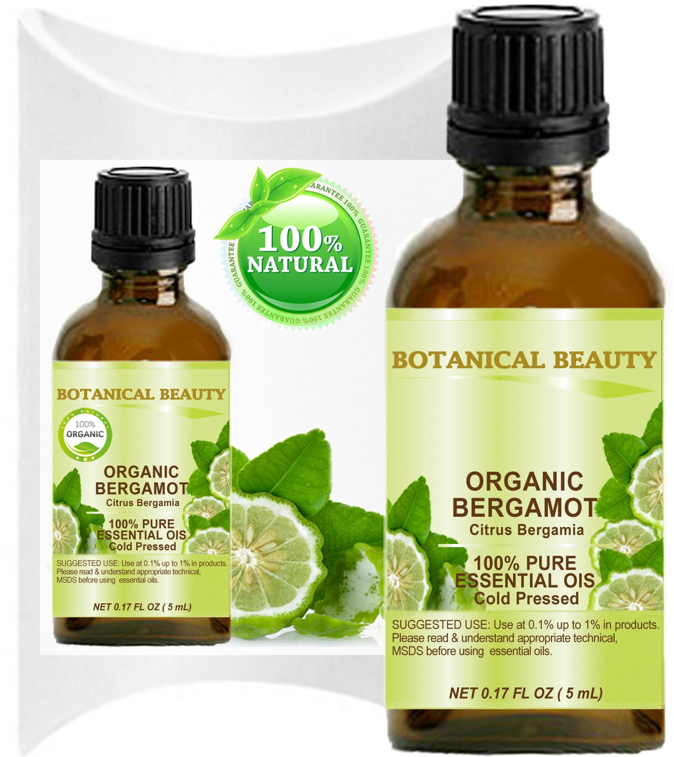 ORGANIC BERGAMOT ESSENTIAL OIL Italian - CITRUS BERGAMIA. 100% Pure Therapeutic Grade, Premium Quality, Undiluted. (0.17 Fl.oz - 5 ml)