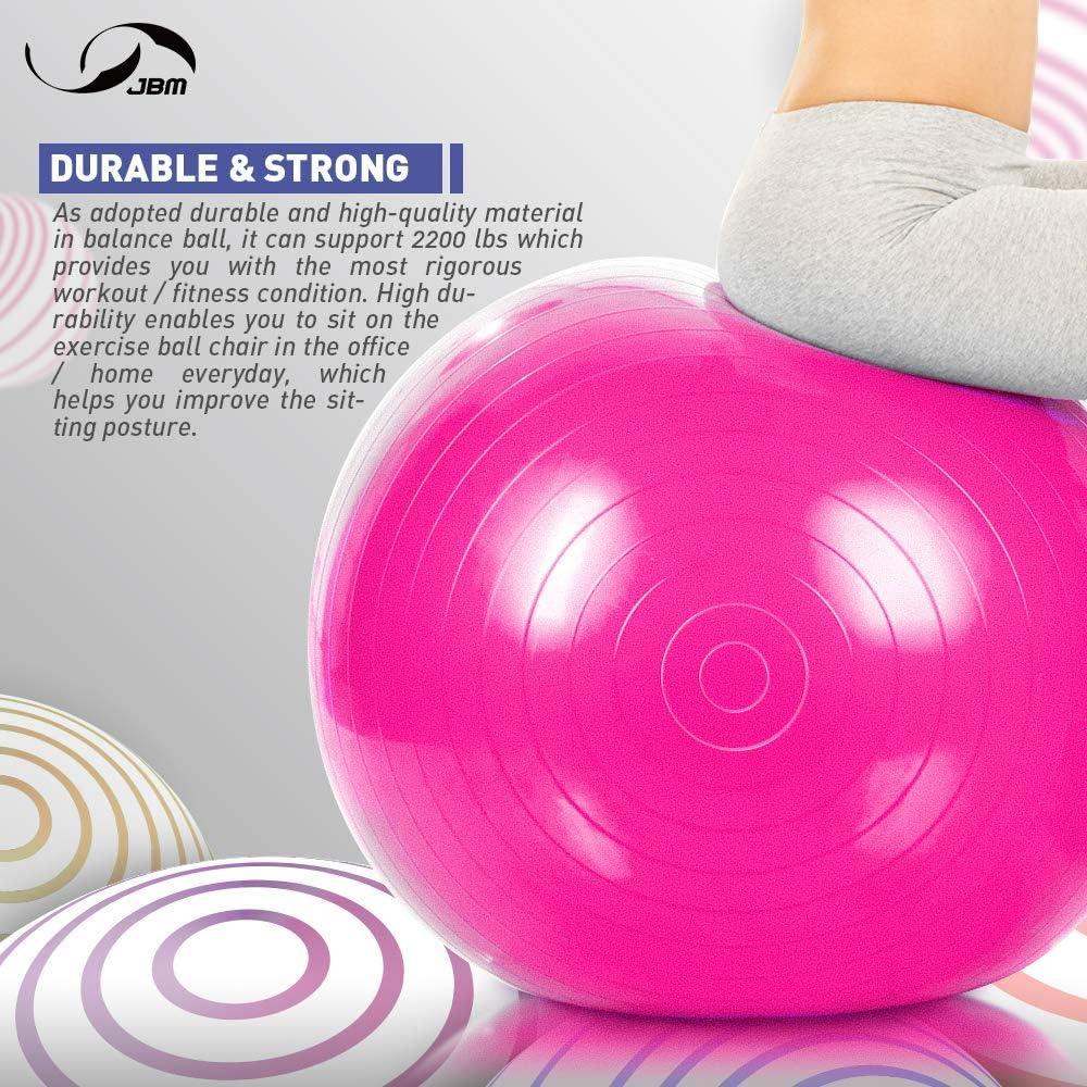 JBM Exercice Boule de Yoga avec Pompe dair Libre 400 lbs Yoga Antid/érapant Anti-Burst /Équilibre stabilit/é Ballon Suisse pour lexercice Fitness Core Training Force