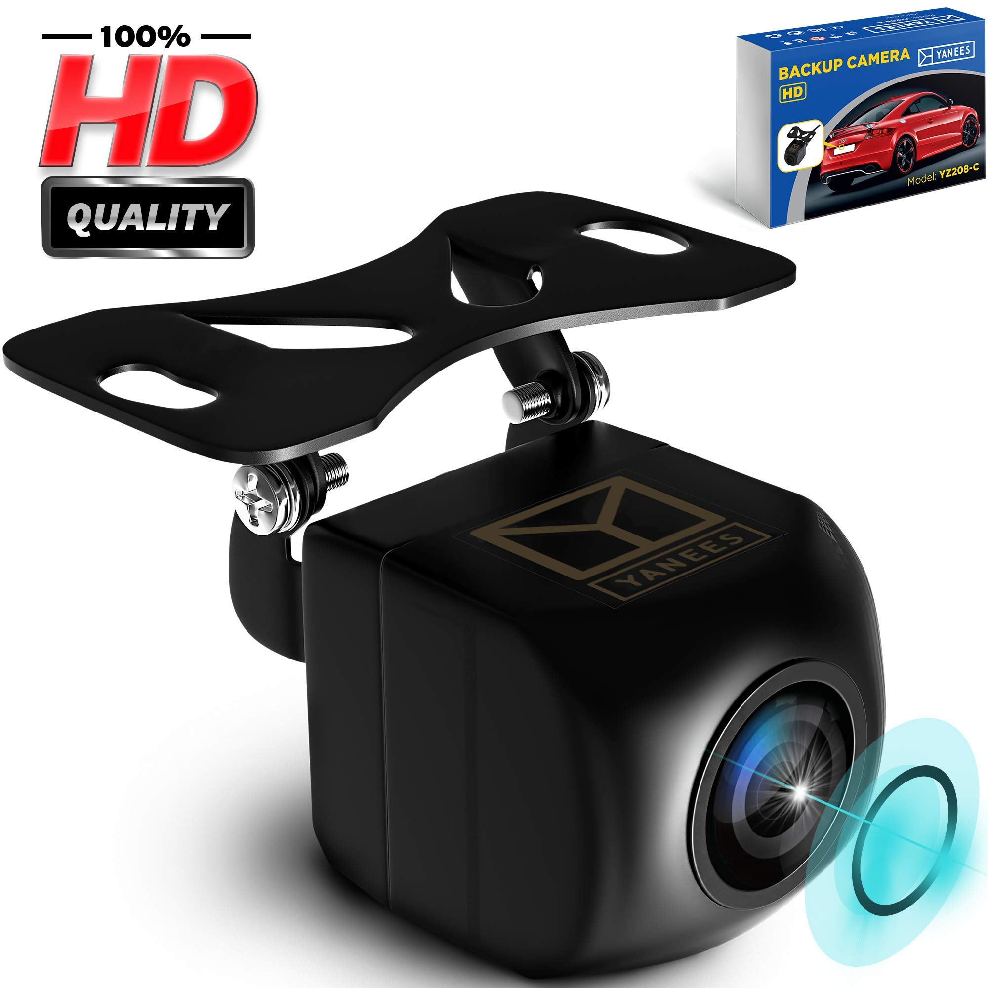 Backup Camera Night Vision - HD Car Rear View Camera - Parking GuideLines ON/Off - Wide View Angel - Waterproof Reverse Auto Back Up Car Backing Camera - High Definition - Fits All Vehicles by Yanees by Yanees