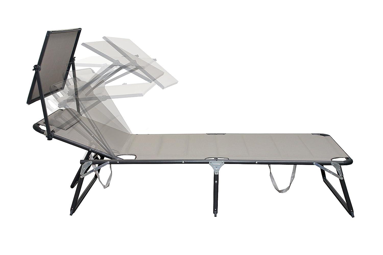 Amazon.de: Aluminium Saunaliege Sonnenliege Gartenliege Alu Liege Mit Dach  Dreibeinliege Textilene Beige