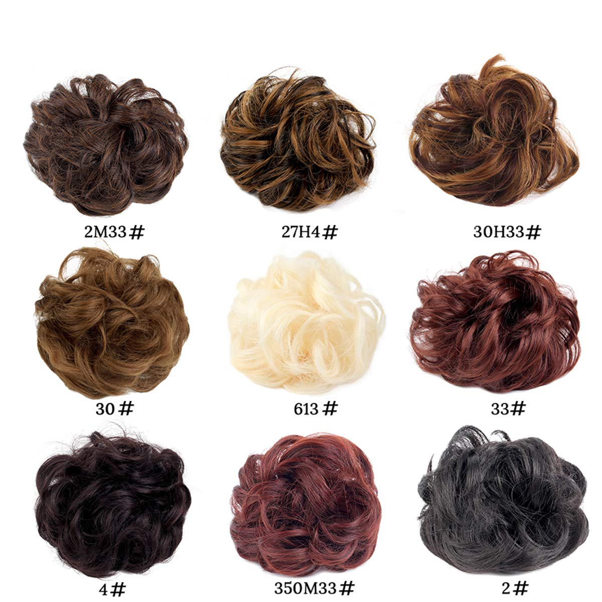 Leeons Wavy Donut Updo Ribbon Ponytail Hair Extensions Curly Messy Bun Dish Scrunchy Scrunchie Hairpiece Wave Bun Scrunchie Synthetic Hair Bun (#2) by LEEONS (Image #4)