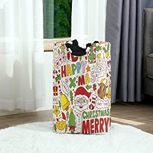 DAOPUDA Laundry Bag Santa Claus Snowman Angel Christmas Multicolor Large Laundry Hamper Bags for Heavy-Duty Use with Strap,Standing Clothes Basket Collapsible for Dorm Travel Bathroom