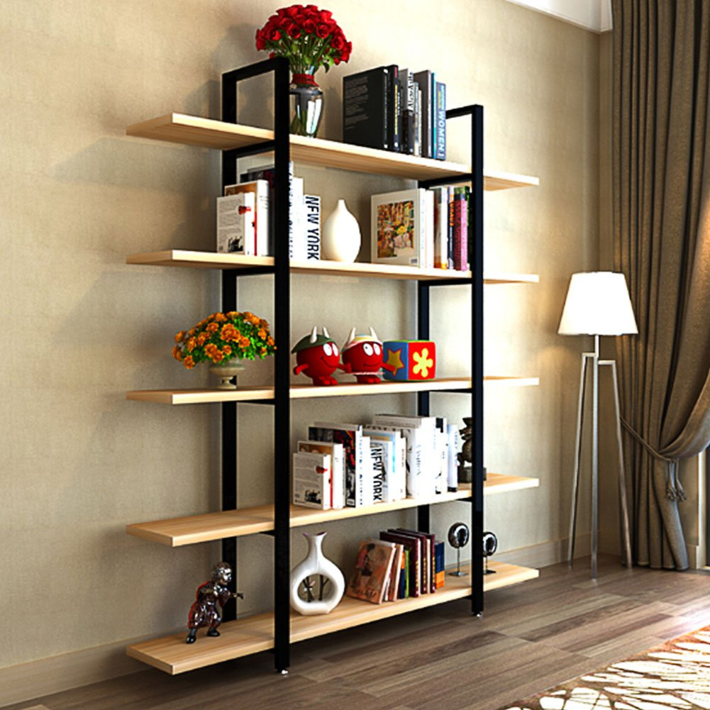 Tribesigns 5 tier bookshelf vintage industrial style bookcase 72 h x 12 w x 47l light walnut