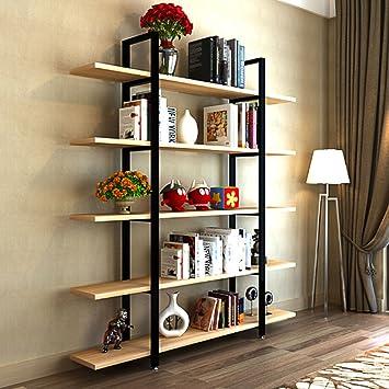 Tribesigns 5 Tier Bookshelf, Vintage Industrial Style Bookcase 72 U0027u0027 H X  12u0026quot