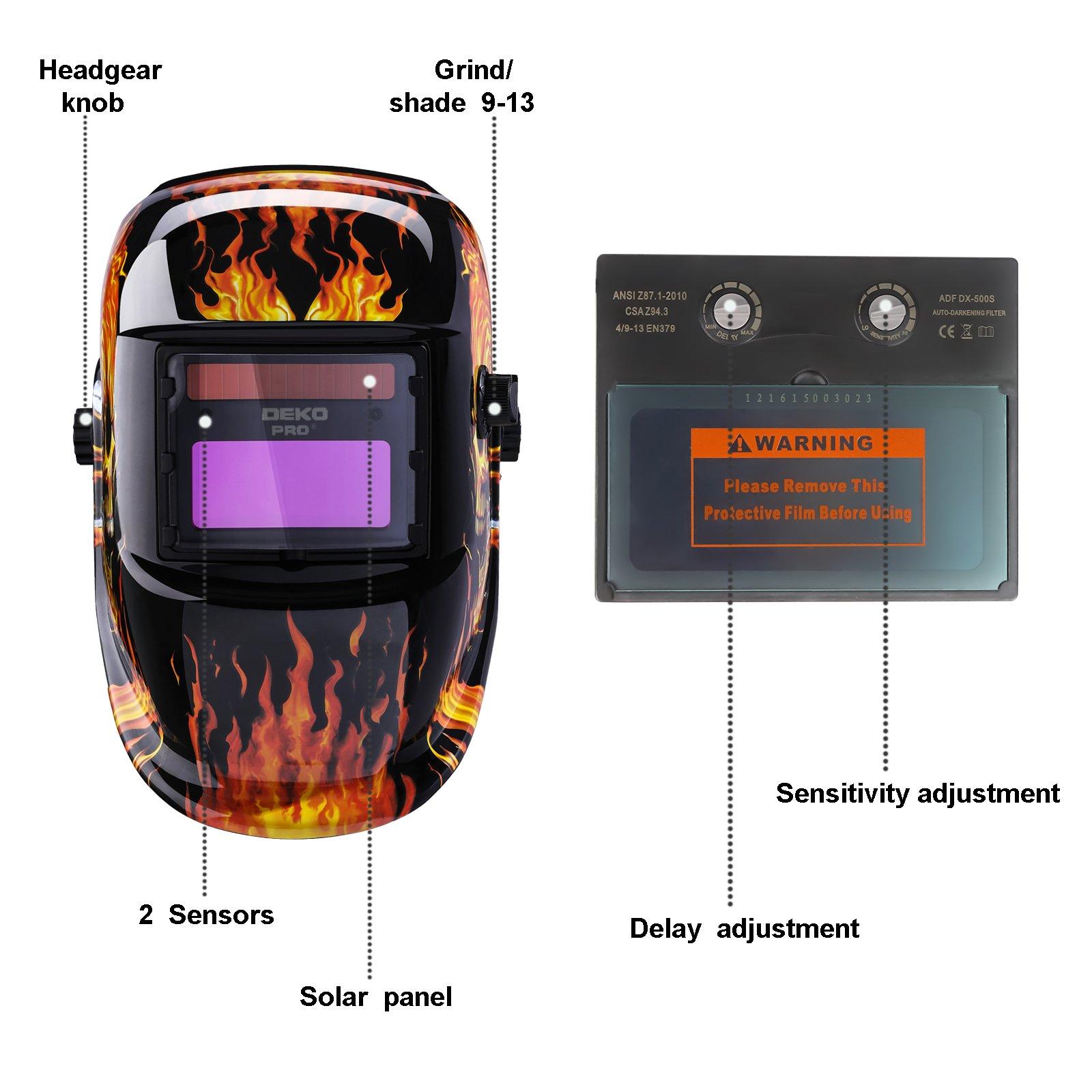Solar Powered Welding Helmet Auto Darkening Professional Hood with Wide Lens Adjustable Shade Range by DEKOPRO (Image #2)