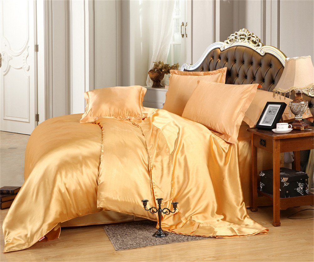 Reliable Bedding Luxurious Ultra Soft Silky Satin 7-Piece Bed Sheet Set with Duvet Set King, Gold