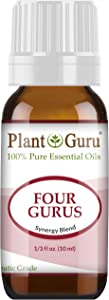 Four Gurus Essential Oil Blend 10 ml 100% Pure Natural Therapeutic Grade Blended with Clove, Cinnamon, Lemon, Rosemary Eucalyptus for Aromatherapy Diffuser and Immune Support