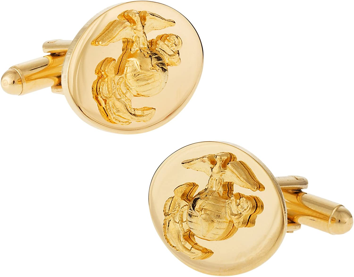 Cuff-Daddy Gold USMC Marine Corp Eagle, Globe & Anchor Officer Cufflinks with Presentation Box
